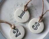 Clay Hand-Stamped Number Tags- Great For Christmas, Weddings, Gift Wrapping & Decoration- Pick Your Set