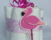 Flammigo Mini diaper cake, great decoration, baby shower or new baby gift.