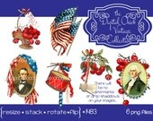 Digital clipart, instant download, Vintage July 4th Images, American flag, George Washington, Abraham Lincoln, drum cherries, png files 1483