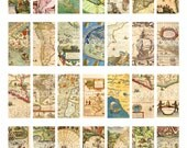 1 by 2 inch domino collage sheet, instant download, Vintage maps lands roads ships sailors pendant--8.5 by 11--Digital Collage Sheet 1601