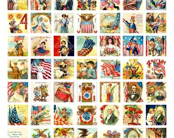 Digital Clipart, instant download vintage 4th of July, 1 inch squares, George Washington American flag--digital collage sheet (8.5by11) 1776
