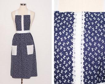 Vintage Navy and White Bow Print Apron