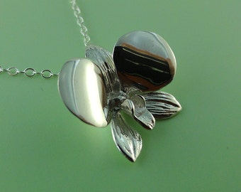 Sterling Silver Orchid Pendant - Dendrobium Orchid Necklace