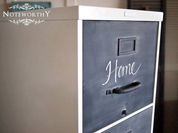 Metal vintage file cabinet in white with chalk paint for How to paint metal file cabinet
