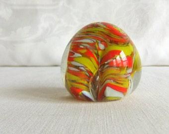 Vintage Blown Glass Paperweight - Orange, Yellow, White Swirl & Wave Pattern, Sun Light Catcher, Windowsill Decor, Murano Italy, Mid Century