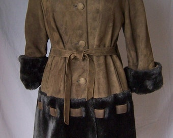 vintage 60's brown suede and faux shearling fur belted skirt coat S/M