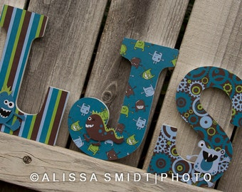 Custom Nursery Wooden Letters, Baby Boy Nursery - Little Monster Theme Custom Letters, 9 Inch Size