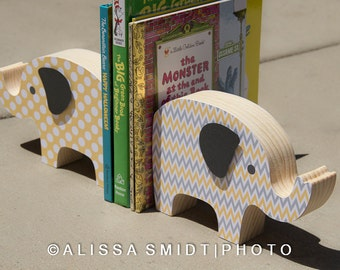 Custom Designed Wooden Elephant Bookends - Custom Created to Coordinate with Nursery Letters - yellow, grey, white