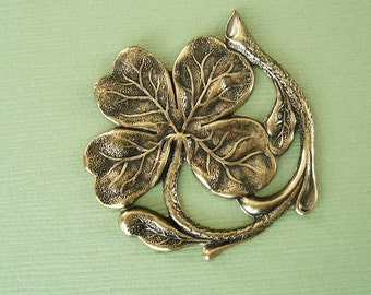Four Leaf Clover Shamrock Ox  Brass Stamping  Jeewelry Findings.