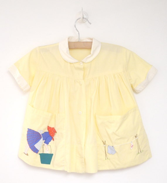 Vintage Baby Clothes, 1950's Bright Yellow Italian Folk Art Baby Girl Dress, Handmade, Vintage Yellow Baby Dress, Size 6-12 Months