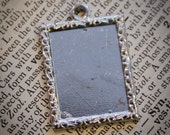 12 HALF OFF Small Rectangle Blank Photo Frame Pendant charms for Bracelets, Necklaces , Bouquets or groom boutonniere- Great memory charm