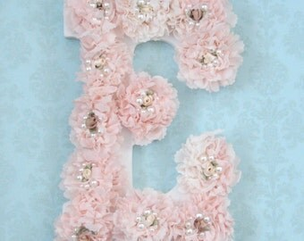 Shabby Chic Nursery Letters, Shabby Chic Nursery Decor, Rosette Nursery Letters, Cottage Chic Nursery, Baby Girl Nursery Letters