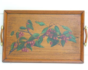 Amazing French Wooden Tray - French Antique painting - Hand Painted By An Artist - Cherries - French Oil Painting