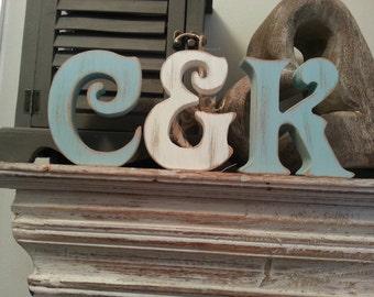 Set of 3 - Handpainted Wooden Freestanding Wedding Letters, Photo Props - 28cm