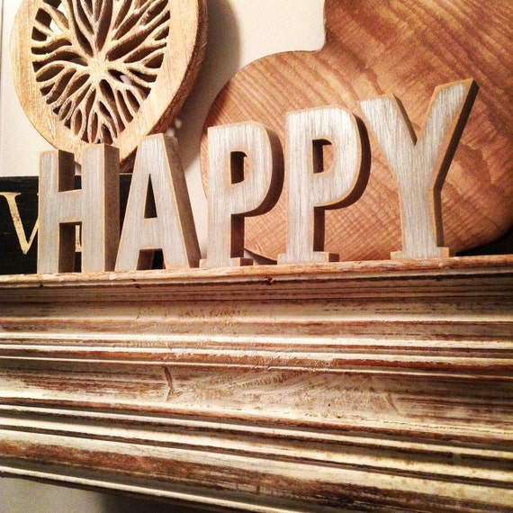 Wooden letters free standing ariel font 10cm happy for Standing wood letters to paint