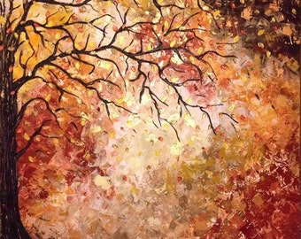 "Custom Original LARGE Abstract Metallic Textured Palette Knife Impasto Painting 30X30 in, ""Autumn 2"", Ask for a Custom"