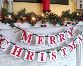 Christmas decorations / Holiday Mantle Garland / Holiday Photo Banner / Vintage Inspired Holiday Banner /Christmas Banner