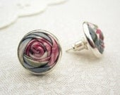 Watercolour Rose Earrings - Duck Egg Blue, Dove Grey & Blush Pink Fabric Roses - Vintage Rustic Wedding
