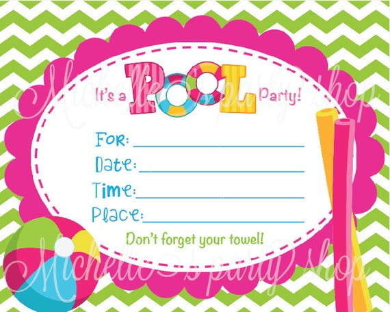 Blank Printable Pool Party Invitations Items Similar To New