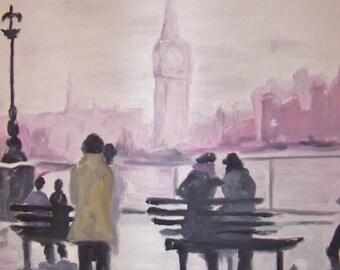 London Snow impressionist textured oil painting