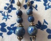 Egyptian Earrings, Lapis Lazuli Earrings, Blue and Silver Earrings, Unique Jewelry Women Beaded Handmade Earrings Unique Jewellery Fall Gift