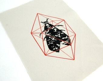 Geodesic Moth Grey Sew On Punk Patch