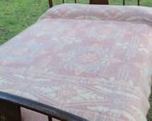 Wool Camp Blanket Orr Health Piqua Ohio Vintage Winter Bedding Pink Tulip Colors Tribal Pattern Mid Century FIND