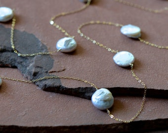 "Freshwater Pearl Necklace, Coin Pearl Stations, Delicate Gold Chain, Extra Long ""Tin Cup"" Style"
