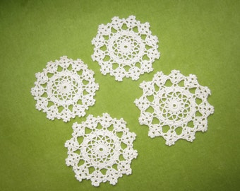 Hand Crocheted Ivory Cotton Lace Coasters