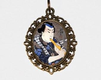 Samurai Necklace, Japanese Woodblock Print, Flute, Samurai Jewelry, Ukiyo-e, Oval Pendant