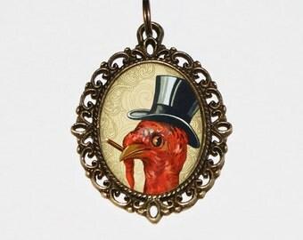 Cigar Turkey Necklace, Thanksgiving Jewelry, Smoking Turkey, Oval Pendant
