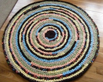 Handmade Crochet Brown Multi Colored Fabric Rug \\Brown Nursery - for Etsy