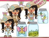 Bug Catching Girl 1 Clipart (Digital Download)
