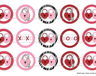 "15 Heart Locket and Key 1 Digital Download for 1"" Bottle Caps (4x6)"