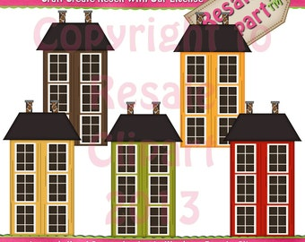 Primitive Fall Houses Clipart (Digital Download)