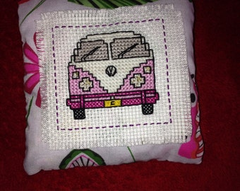 Custom designed, Hand cross stitched lavender filled pillow/cushion.
