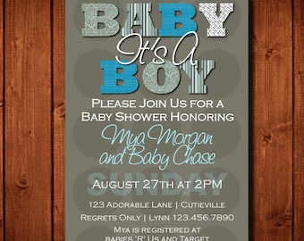 Modern It's A Boy Baby Shower Invitation Shades of Blue Digital File or Prints on Front and Back