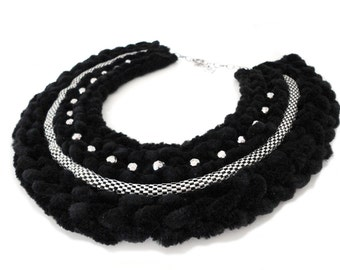 SALE - Black Knitted Collar Statement Necklace