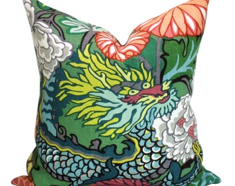 Pair of TWO Schumacher Chiang Mai Dragon pillow covers in Jade