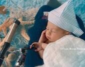 "Newborn Fabric ""Newspaper"" Seersucker Sailor Hat, Newborn Photography Prop, Baby Hat, Newspaper Hat, Fabric Newspaper Hat"