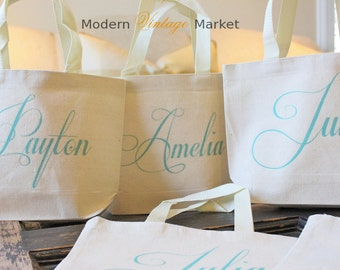 "4 -  ""THE CAPRICCO""  MINI"" -Personalized Flower Girl bags -gifts-Wedding-Bridesmaids - Monogrammed Tote Bags - -by Modern Vintage Market"