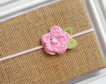 Pink Crochet Flower Headband - Baby Flower Headband - Pink Flower Headband - Baby Headband
