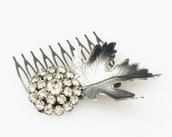 Vintage Silver Leaf and Rhinestone Hair Comb