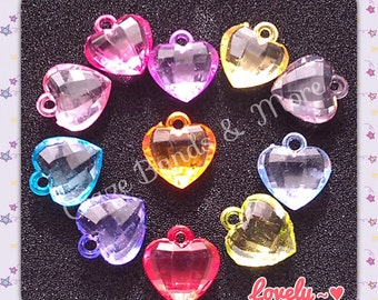 20 NEW Dazzling Heart Charms mixed Color fit Rainbow Loom rubber bands kit Bracelet with Jump Rings Craft Jewelry