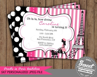 Poodle in Paris Invitation Birthday Parisian French Party Pink Polka Dot