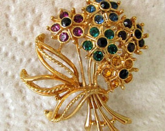 vintage 60s allison reed gold tone rhinestone flower bouquet brooch pin colors of gemstones signed
