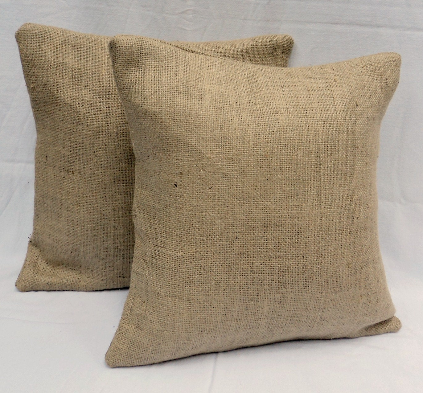 How To Make A Burlap Throw Pillow : Set of 2 18 x 18 Burlap Throw Pillows Fully Lined