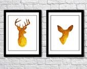 Deer Antlers Modern Wall Art - Print Set - Woodland Home Decor - faux Golden Gold Foil - Deer and Doe Couple - Wedding Art Gift For Couple