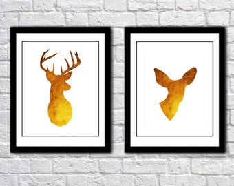 Deer Antlers Modern Wall Art - Print Set - Woodland Home Decor - faux Golden Gold Foil - Deer and Doe Couple - Wedding Art Gift For Couple