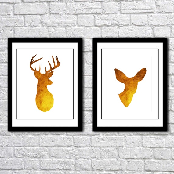 Deer Antlers Modern Wall Art Print Set Woodland Home Decor